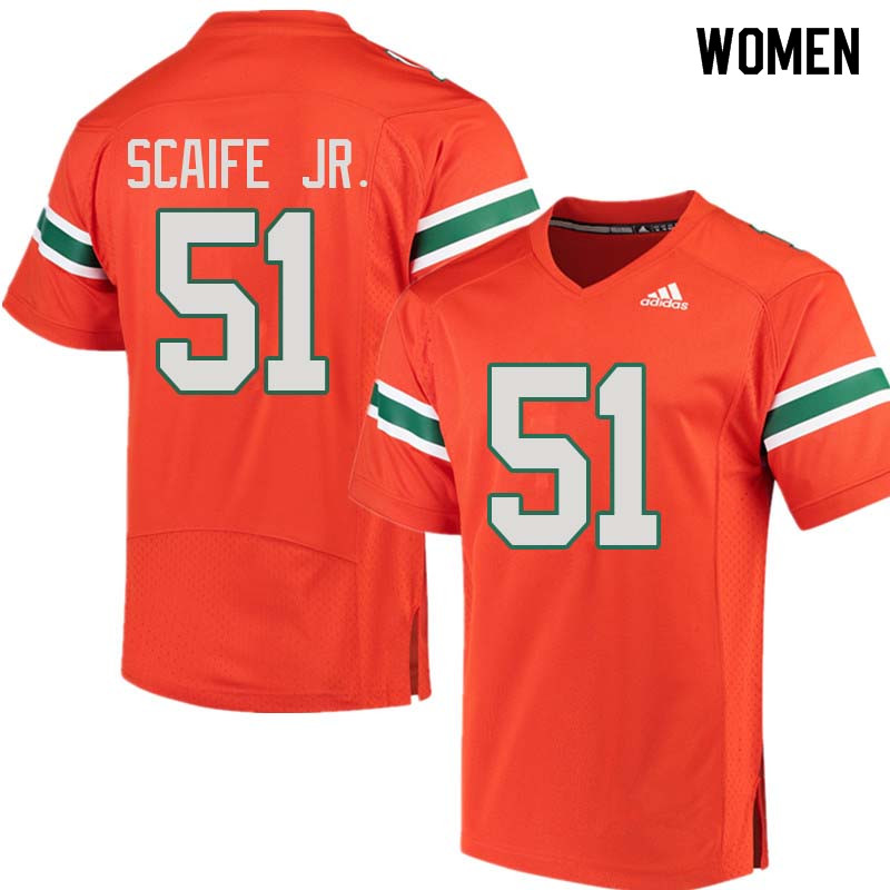 Women Miami Hurricanes #51 Delone Scaife Jr. College Football Jerseys Sale-Orange